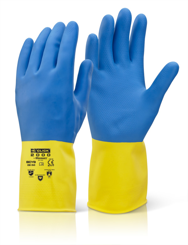 2 COLOUR HEAVYWEIGHT GLOVE YELLOW/BLUE - BCYB