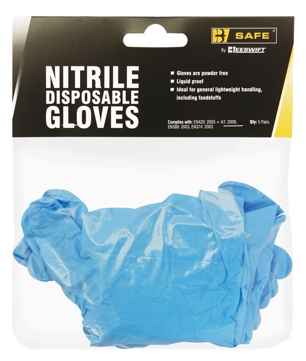 NITRILE DISPOSABLE GLOVE PACK OF 5 PAIRS - BS055