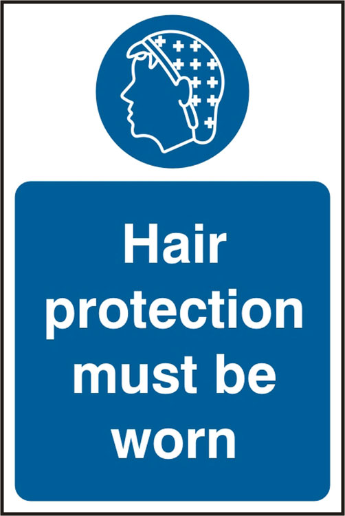HAIR PROTECTION  MUST BE WORN SIGN - BSS11478
