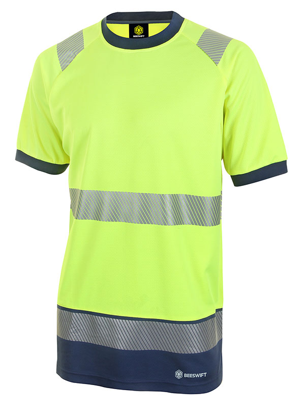 HIVIS TWO TONE SHORT SLEEVE T SHIRT - HVTT001SYN